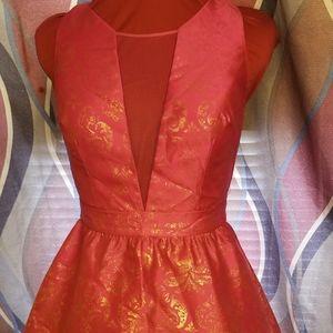 Hailey Logan pink/gold lace halter v day dress 5/6